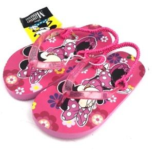 Disney Minnie Mouse Girls Flip Flops Pink Flowers